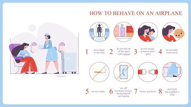 How to behave in the airplane. fasten belt and stay on the seat. idea of passenger safety and service.    illustration