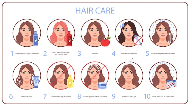 How to care for your hair tips for woman with long hair. wash and clean using shampoo, do not comb wet hair.   illustration