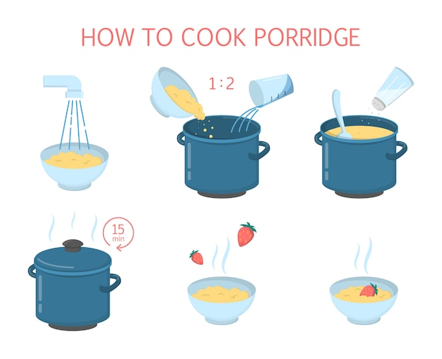 How to cook tasty delicious porridge with strawberry instruction.