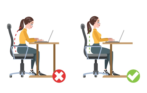 How to correct posture infographic. incorrect pose and back pain. wrong and right body position.    illustration