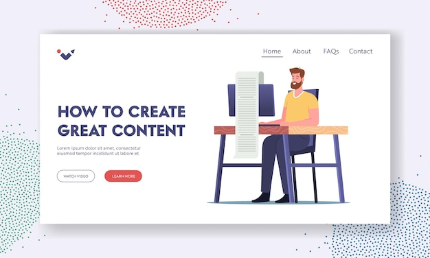 How to create great content landing page template. blogging, article creation. digital marketer, copywriter, writer, freelancer character create advertising post. cartoon people vector illustration