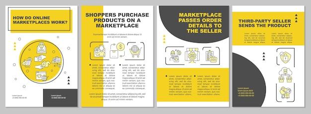 온라인 마켓 플레이스는 브로셔 템플릿을 어떻게 작동합니까? 온라인 시장. 전단지, 소책자, 전단지 인쇄, 선형 아이콘이 있는 표지 디자인. 프레젠테이션, 연례 보고서, 광고 페이지용 벡터 레이아웃 프리미엄 벡터