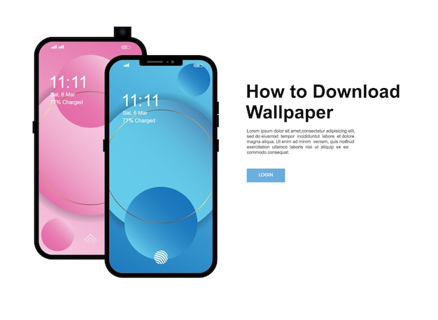 How to download wallpaper banner template. smartphone with modern mobile phone screen wallpaper design