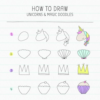 How to draw unicorn and magic doodles tutorial