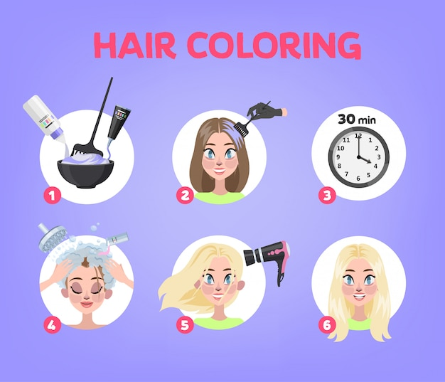 How to dye your hair at home guide. step-by-step instruction for hair coloring process. beauty procedure. apply color creme on hair with brush.   illustration