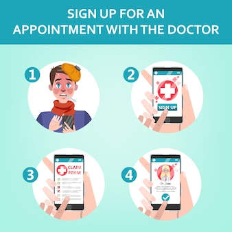 How to get consultation with a doctor using mobile phone instruction. online medical consultation with specialist. register to the hospital.  flat illustration