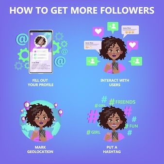 How to get more follower guide for people who want to be popular. internet feedback, like and share. life in social media. isolated flat vector illustration