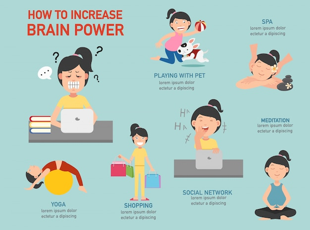 How to increase brain power infographic illustration