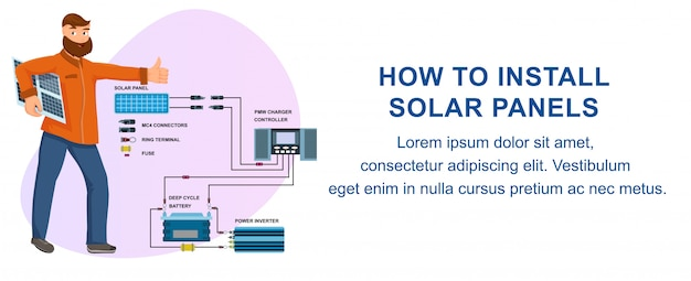 How to install solar panels batteries instruction
