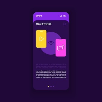 스마트폰 인터페이스 벡터 템플릿이 작동하는 방식입니다. 모바일 앱 페이지 짙은 보라색 디자인 레이아웃입니다. 매뉴얼 페이지 화면입니다. 응용 프로그램에 대한 평면 ui. 설정에 대한 조언, 설명 참고. 전화 디스플레이