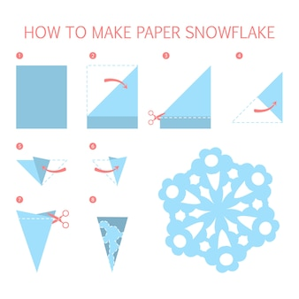 How to make christmas blue snowflake of different shape diy. step-by-step instruction for paper origami toy. tutorial for children.    illustration