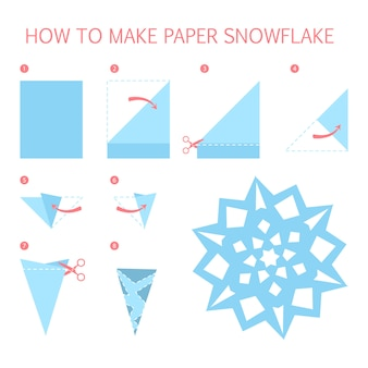 How to make christmas white snowflake of different shape diy. step-by-step instruction for paper origami toy. tutorial for children.    illustration