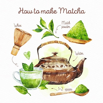 How to make matcha tea drawn