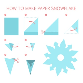 How to make white snowflake of different shape diy. step-by-step instruction for paper origami toy. tutorial for children. isolated vector flat illustration