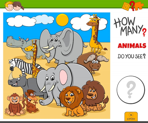 How many animals educational task for kids