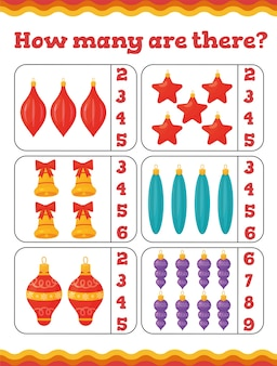 クリスマスツリーの装飾を備えた幼児教育ゲームはいくつありますか。就学前または幼稚園のクリスマスワークシート。図