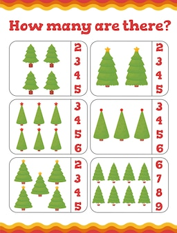 How many are there toddler education games with christmas trees. preschool or kindergarten christmas worksheet.  illustration