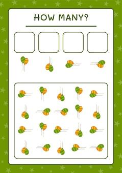 Сколько воздушный шар, игра для детей. векторные иллюстрации, лист для печати