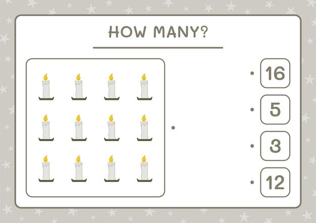 How many candle, game for children. vector illustration, printable worksheet