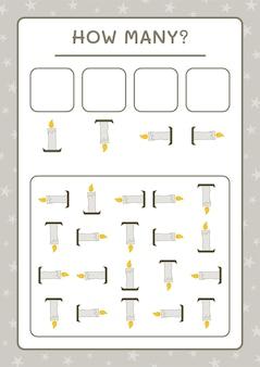 Сколько свечей, игра для детей. векторные иллюстрации, лист для печати