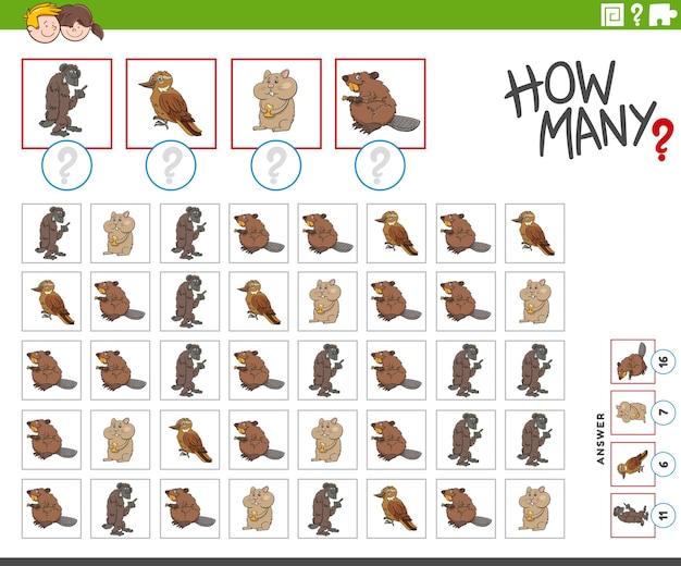 Сколько мультяшных персонажей животных счетная игра