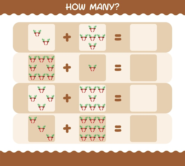 How many cartoon antlers headband. counting game. educational game for pre shool years kids and toddlers