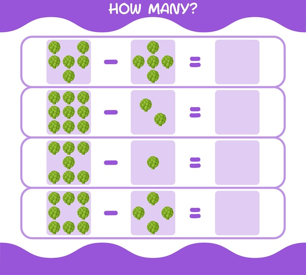 How many cartoon artichoke. counting game. educational game for pre shool years kids and toddlers