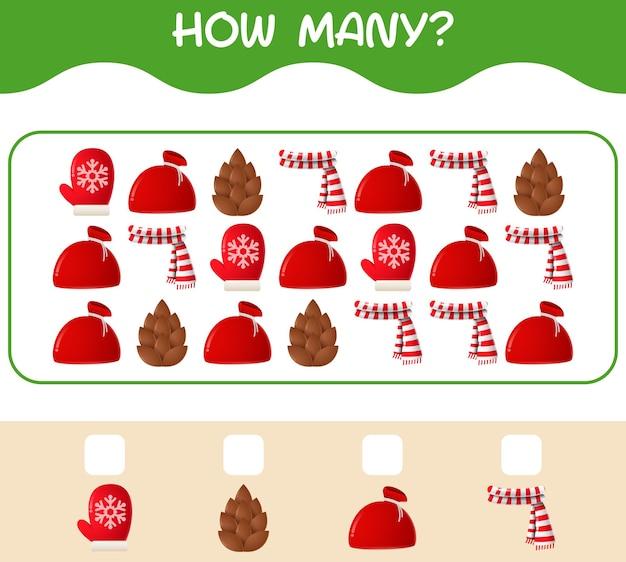 얼마나 많은 만화 크리스마스입니다. 계산 게임. 취학 전 아동 및 유아를 위한 교육 게임