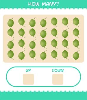 漫画のココナッツの数。カウントゲーム。就学前の子供と幼児のための教育ゲーム