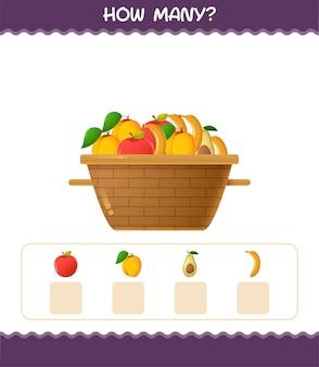 Сколько мультяшных фруктов. счетная игра. развивающая игра для дошкольников и малышей