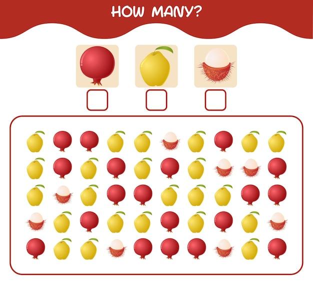 漫画の果物の数。カウントゲーム。就学前の子供と幼児のための教育ゲーム Premiumベクター