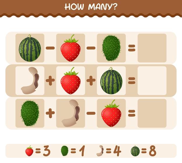 漫画の果物の数。カウントゲーム。教育ゲーム