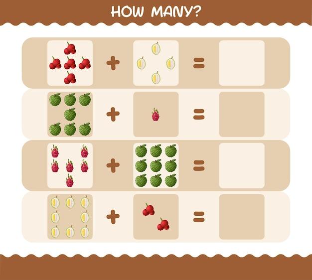Сколько мультяшных фруктов. счетная игра. обучающая игра