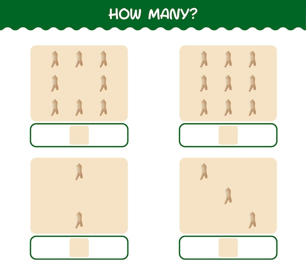 How many cartoon ginseng. counting game. educational game for pre shool years kids and toddlers