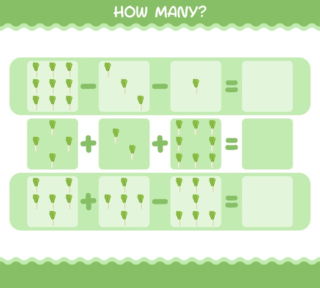 How many cartoon leek. counting game. educational game for pre shool years kids and toddlers