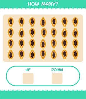 漫画のパパイヤの数。カウントゲーム。就学前の子供と幼児のための教育ゲーム