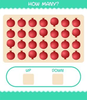 漫画のザクロの数。カウントゲーム。就学前の子供と幼児のための教育ゲーム