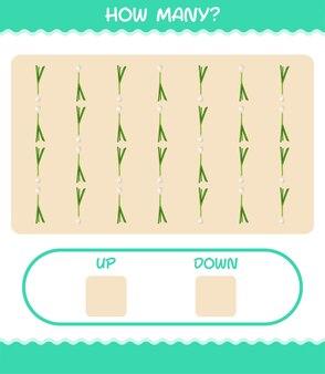 Сколько мультяшного зеленого лука. счетная игра. развивающая игра для дошкольников и малышей