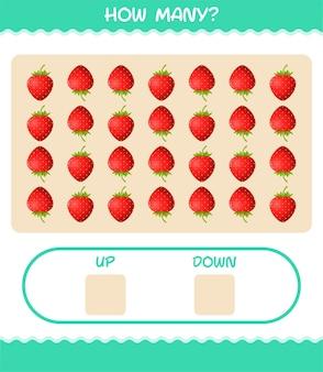 漫画のイチゴの数。カウントゲーム。就学前の子供と幼児のための教育ゲーム