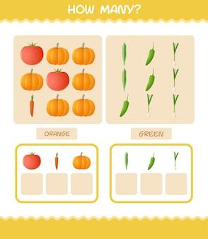 漫画の野菜の数。カウントゲーム。就学前の子供と幼児のための教育ゲーム