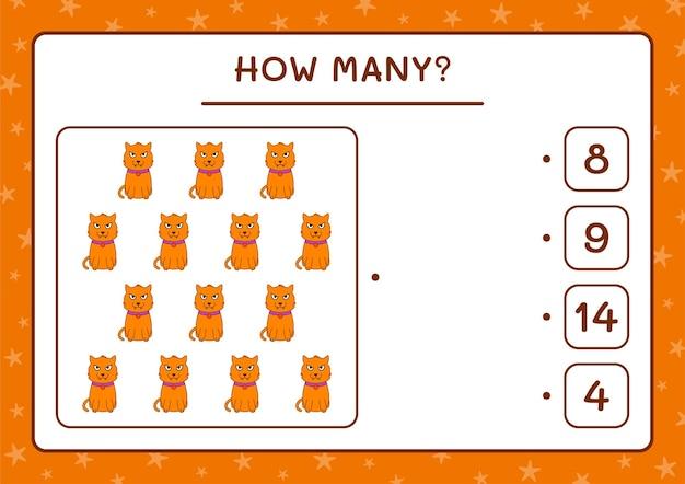 How many cat, game for children. vector illustration, printable worksheet