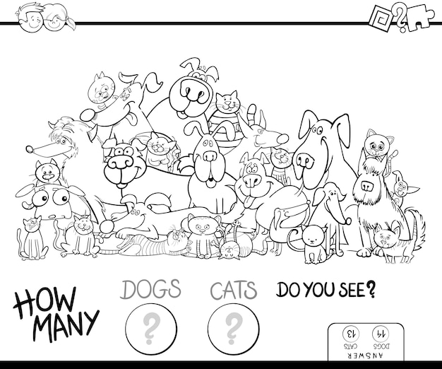 How many cats and dogs game color book