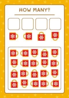 얼마나 많은 크리스마스 머그잔, 어린이용 게임. 벡터 일러스트 레이 션, 인쇄용 워크시트
