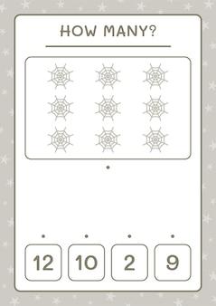 Сколько паутины, игра для детей. векторные иллюстрации, лист для печати