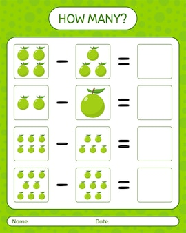 How many counting game guava. worksheet for preschool kids, kids activity sheet, printable worksheet