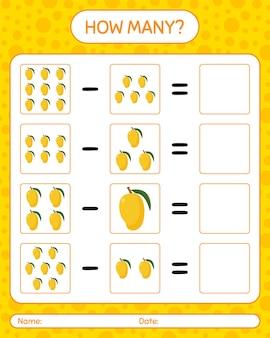 How many counting game mango. worksheet for preschool kids, kids activity sheet, printable worksheet