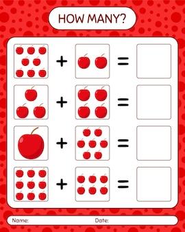 リンゴを使ったカウントゲームの数。就学前の子供のためのワークシート、子供向けアクティビティシート、印刷可能なワークシート