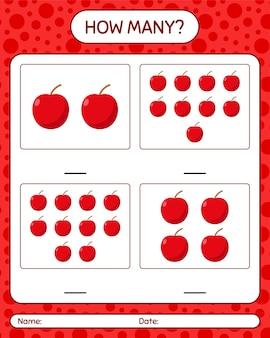 Сколько счетная игра с листом яблока для детей дошкольного возраста, лист активности детей, лист для печати