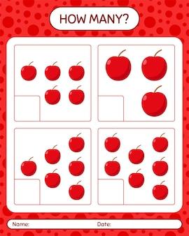 就学前の子供のためのリンゴのワークシートを使ったカウントゲームの数