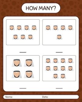 Сколько счет в игре с арабским. рабочий лист для детей дошкольного возраста, лист активности детей, рабочий лист для печати
